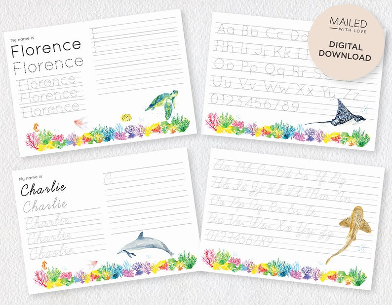 picture relating to How It Works Aa Printable referred to as Ocean Personalized Crafting Board, Print Cursive Popularity, Alphabet Figures Tracing Message boards for Children
