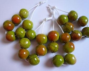 6 perline raku verdi sfumate arancione - perline raku per collana e gioielli originali - idea regalo amica - ceramica - perline raku -