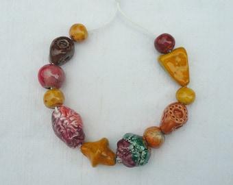 12 perline ceramica colori autunnali - perline ceramica per collana regalo originale - perline ceramica raku -perline per gioielli autunno