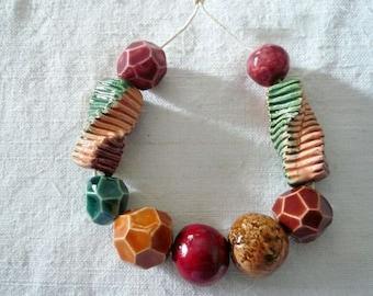9 perline ceramica colori autunnali - perline per collana autunno - gioielli originali - idea regalo amica - per lei autunno - ceramica