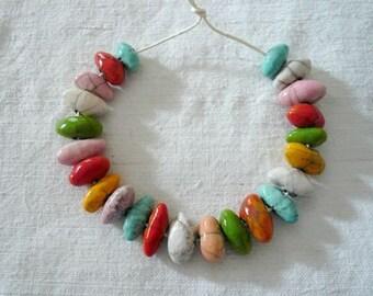 23 piccole perline olivette in ceramica raku arcobaleno - perline ceramica raku - gioielli originali - idea regalo amica - per lei - raku
