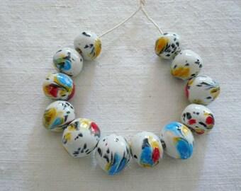 12 perline irregolari in ceramica con colori sfumati - perline ceramica per collana - gioielli originali - idea regalo amica -  autunno