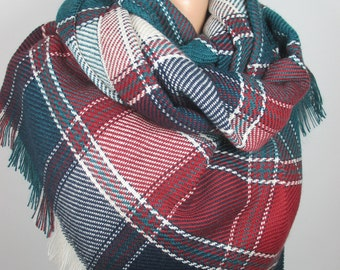 Blanket scarf Plaid scarf Clothing Gift fall winter Flannel scarf Oversized Outdoor Gift Women Accessories Christmas gift for her for mom