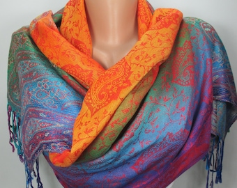 Rainbow Pashmina Scarf Shawl Holiday Gift Unique Gift For Women Accessories For Women Christmas Gift For Her For Mom Oversized Women Scarf