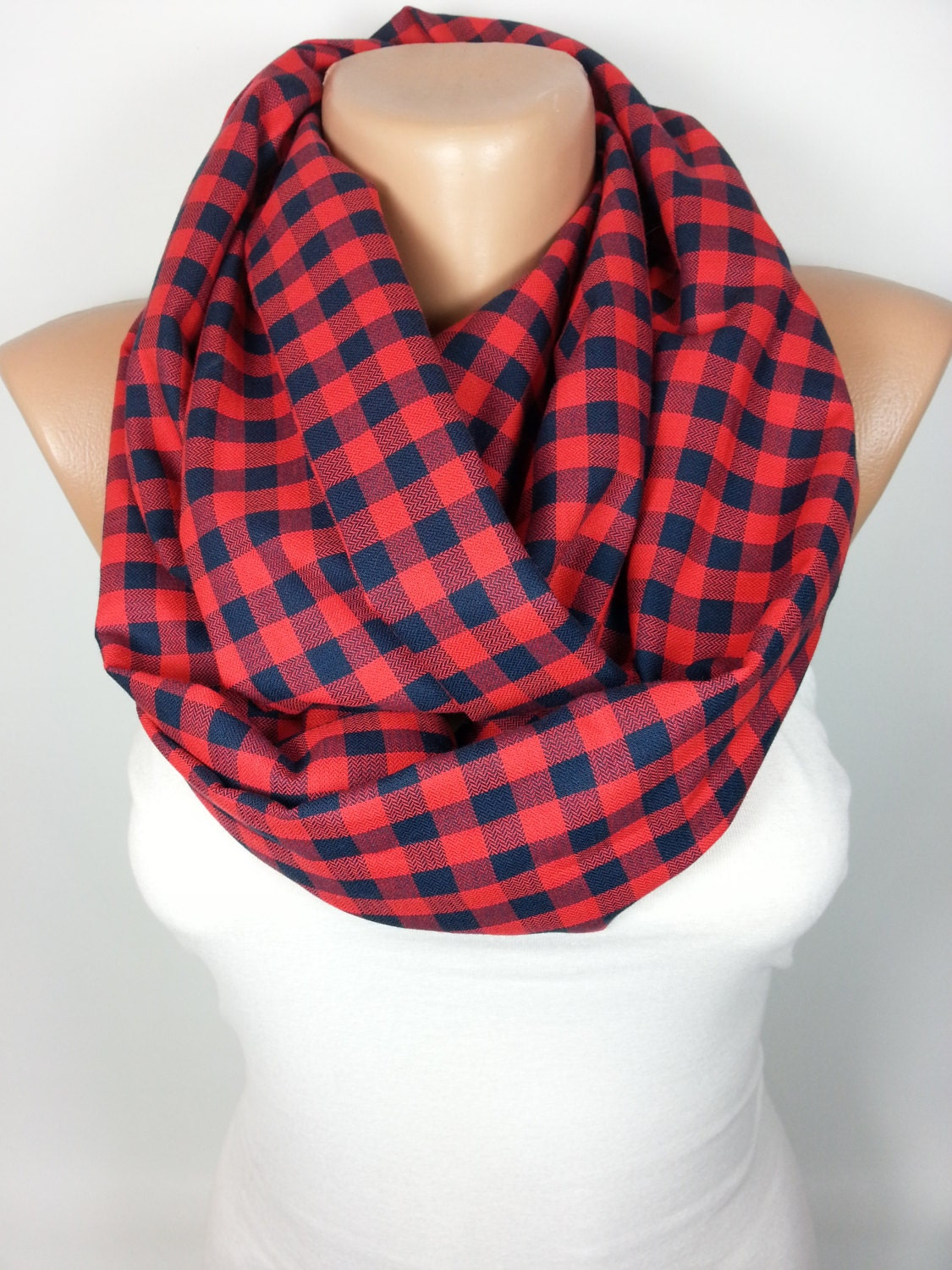 a463850de15b1 Clothing Gift Travel Gift Plaid Scarf Infinity Scarf Red