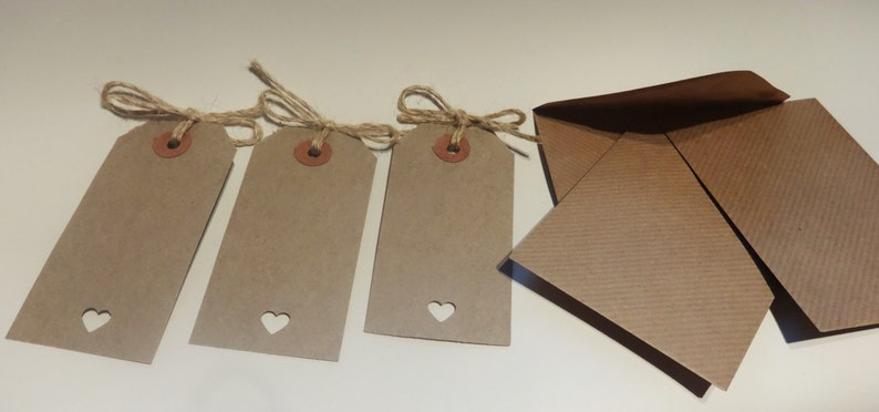Wishing Tree Vintage Rustic Invitation Thank You Place Card 50 Buff Brown Luggage Label Tag with envelope Wedding Favour