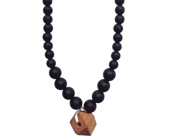 Silicone + Wood Teething Necklace | The Collins Black