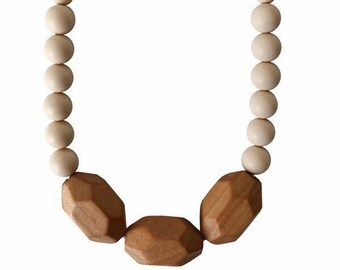 Silicone + Wood Teething Necklace | The Austin Cream