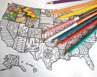 Mappa Stati Uniti America Cartina Da Colorare Vendite Etsy Etsy