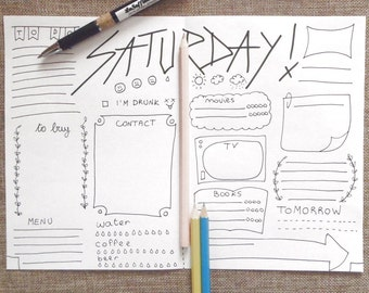 funny bullet journal printable daily planner cool agenda day etsy