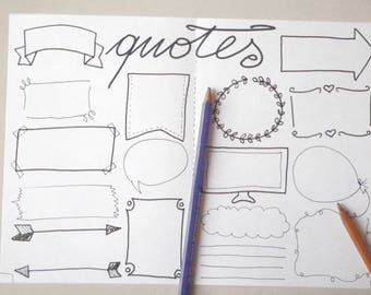 Printable Bullet Journal Quotes Blank Boxes Planner Layout Etsy