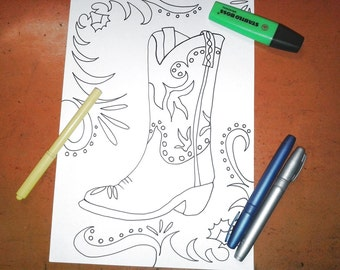 de855d72143 cowboy boot texas coloring kids adult rodeo boot far west sherif download  colouring book relax gift american printable art lasoffittadiste