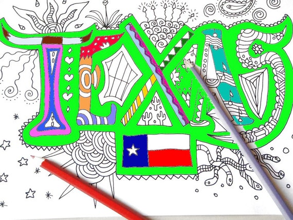 texas, kids adult coloring book