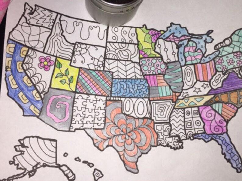 Uniti Colorare Cartina Bambini Usa Stati Adulti Mappa America Etsy 61wwzR