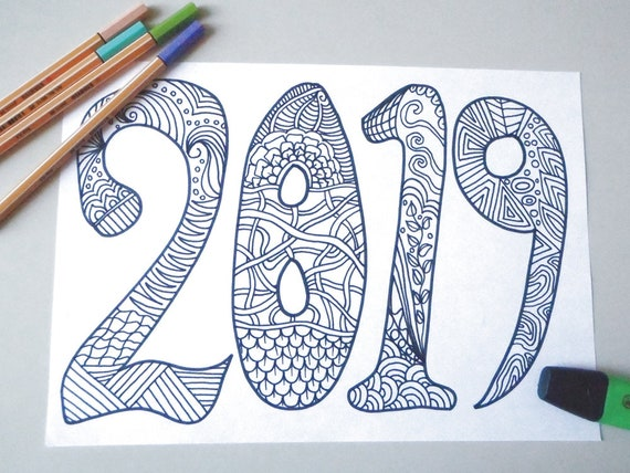 2019 New Year Adult Coloring Book Kids Page Happy New Year Etsy
