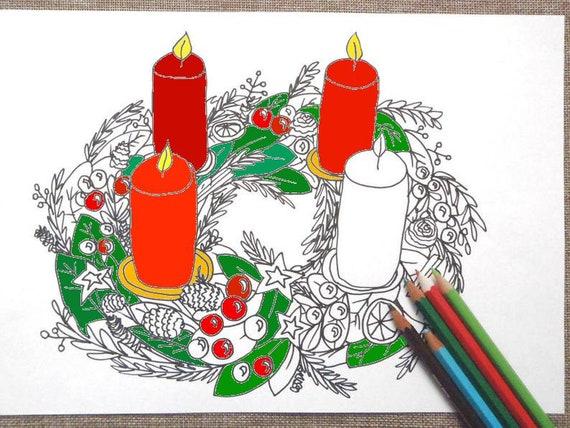 Christmas Advent Wreath Adventskranz Adult Coloring Xmas Etsy