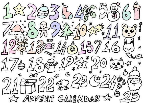 Calendario Dellavvento Da Stampare Per Bambini.Natale Calendario Dell Avvento Da Colorare Bambini Kawaii Baby Scuola Stampare Stampabile Instant Download Libro Digitale Lasoffittadiste