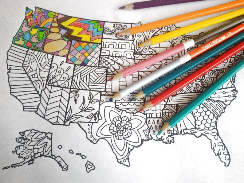 United states america map kids adult coloring etsy sales book   Etsy