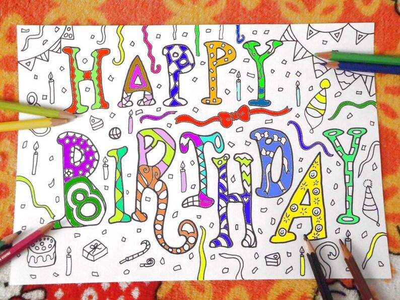 Buon Compleanno Compleanno Da Colorare Per Adulti Bambini Etsy