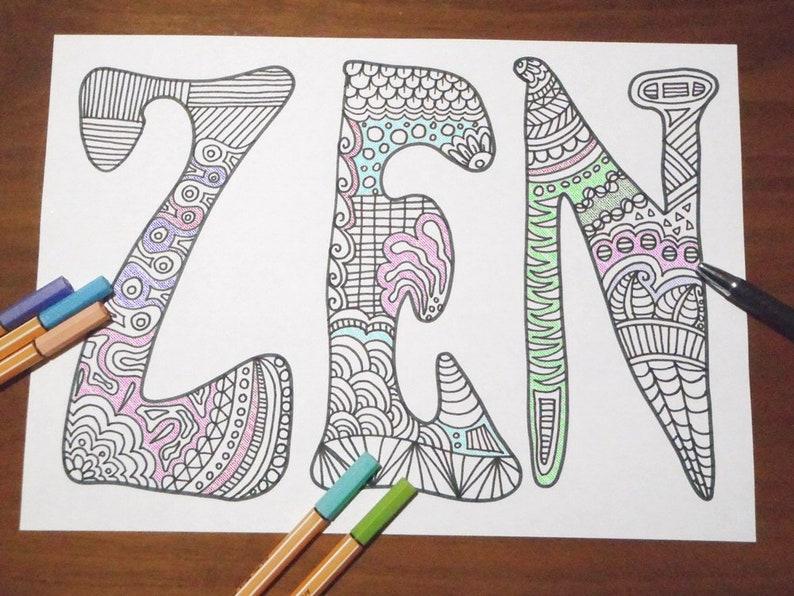 Zen Disegno Da Colorare Per Adulti Meditazione Yoga Joga Relax Etsy