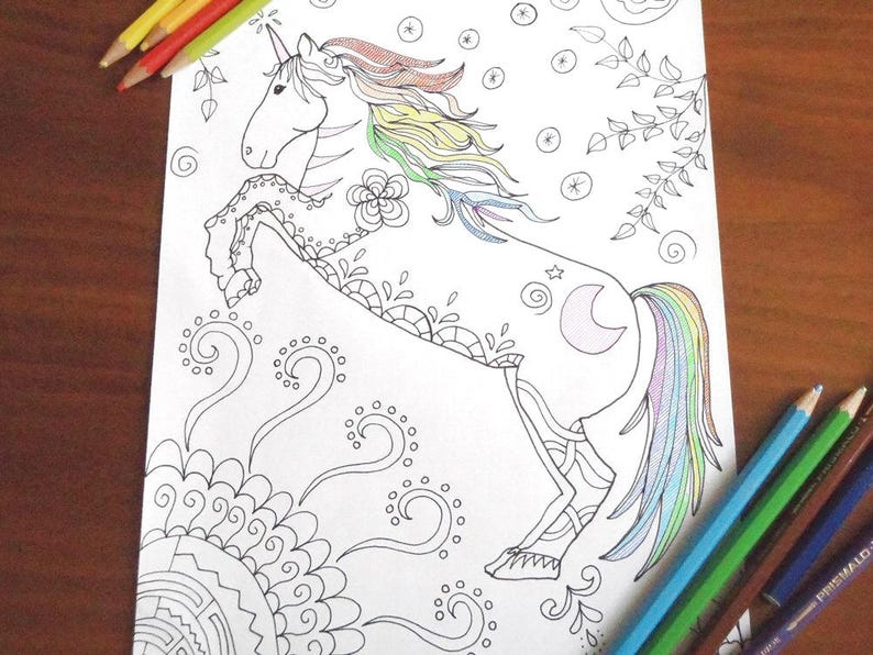 Unicorno Pagina Da Colorare Cavallo Bambini Adulti Zen Etsy