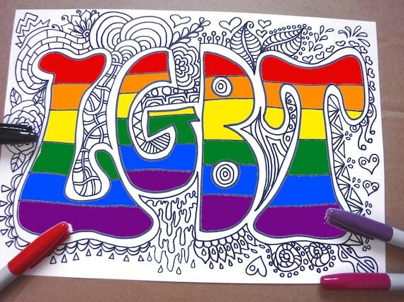 Lgbt Coloring Page Printable Gay Lgbtq Lesbic Etsy