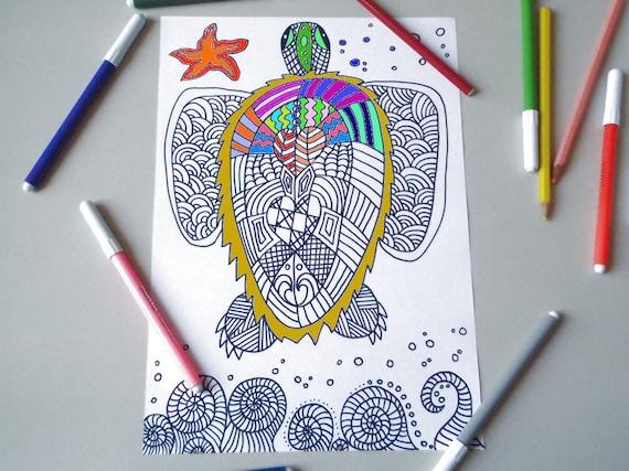 Kleurplaten Dieren A4.Instant Download Volwassen Kleurplaten Zentangle Dieren Zeeschildpad Meditatie Afdrukken Afdrukbare Digitale Zee Lasoffittadiste