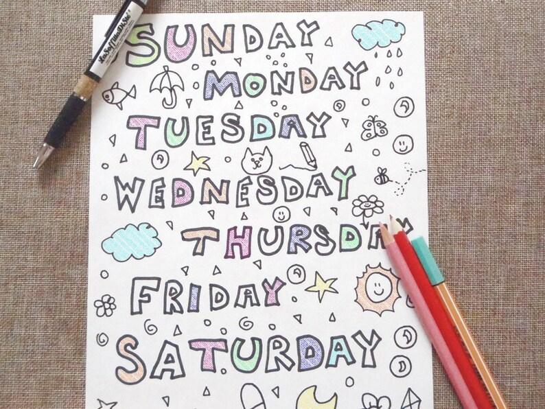 Giorni Della Settimana Colorare Inglese Bambini Baby Scuola Etsy