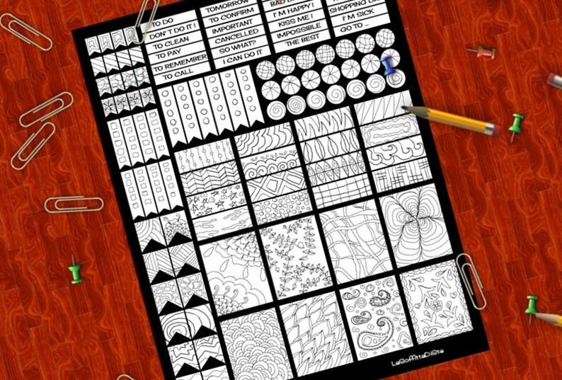 Colorare Planner Stickers Doodle Adesivi Bianco E Nero Da Etsy