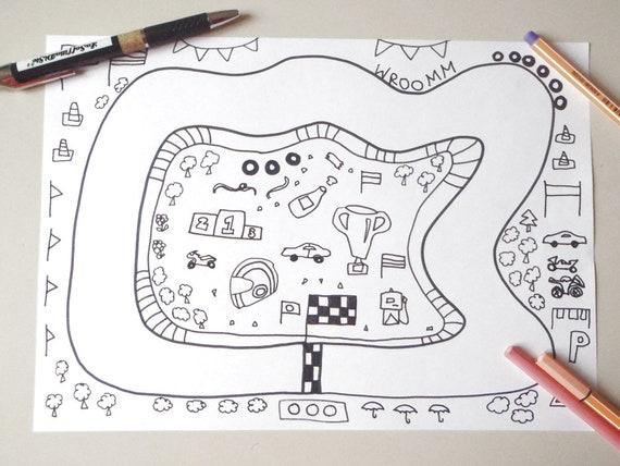 Disegno Bagno Da Colorare : Pista delle macchinine moto da colorare bambini auto macchine etsy