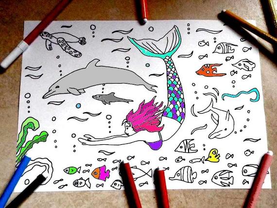 Sirena Delfini Mare Pagina Da Colorare Bambini Pesci Di Mare Etsy