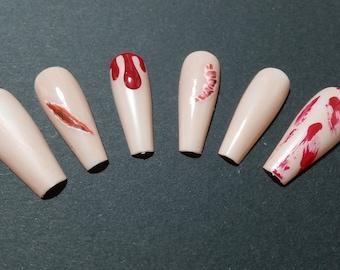 halloween bloody horror long coffin, beige false nails drippy