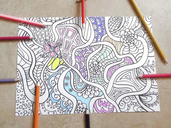 Disegno Bagno Da Colorare : Doodle da colorare adulti fiori astratti zen arte meditazione etsy
