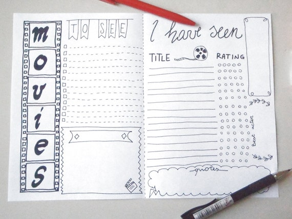 Movies Bullet Journal Printable Planner To Seen Seen Cinema Etsy
