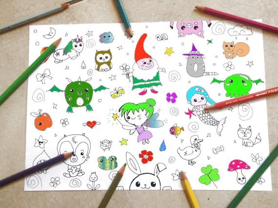 Fantasy Kids Coloring Kawaii Unicorn Fairy Tale Nice Cute Etsy