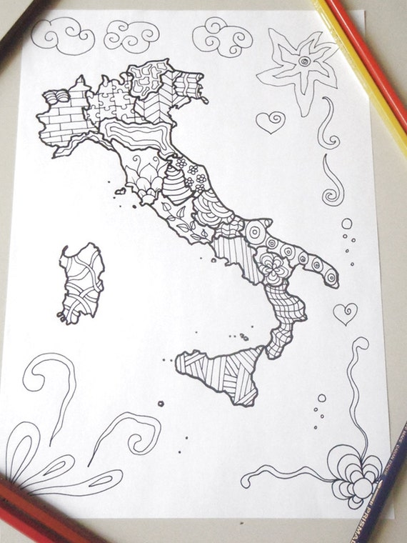 Italy Map Italian Adult Coloring Page Kids Travel Download Colouring Lover Meditation Printable Print Digital Lasoffittadiste
