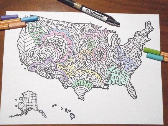 Cartina Asia Da Colorare.Mappa Stati Uniti America Cartina Da Colorare Vendite Etsy Etsy
