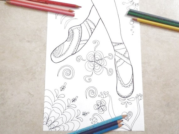Ballet Shoes Ballerina Dancer Coloring Girl Gale Adults Etsy