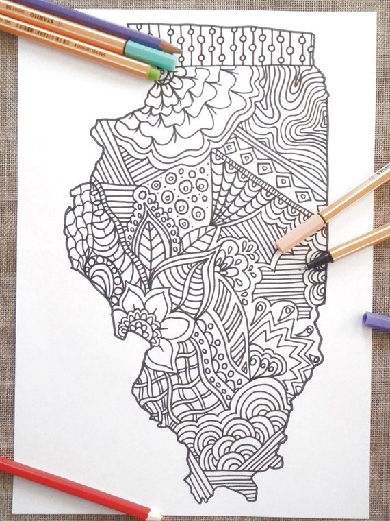Illinois Colouring Map Kids Adult Coloring Tourist Map Etsy