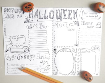 halloween bullet journal printable party gift for her journaling checklist costume planner goth organizer notebook download lasoffittadiste