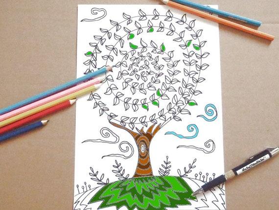 Albero Della Vita Pagina Da Colorare Per Adulti Zen Meditazione Stampare Libro Stampabile Instant Download Disegno Digitale Lasoffittadiste