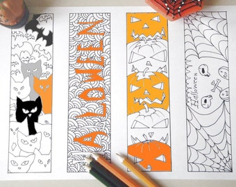 halloween coloring bookmark adult kids page markers
