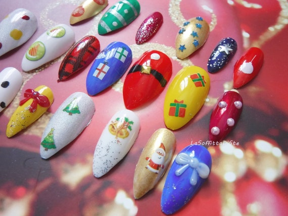 3d christmas fake nails false nails stiletto xmas drag queen