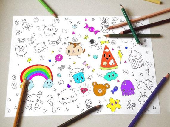 Kawaii Disegno Da Colorare Per Bambini E Adulti Amanti Etsy