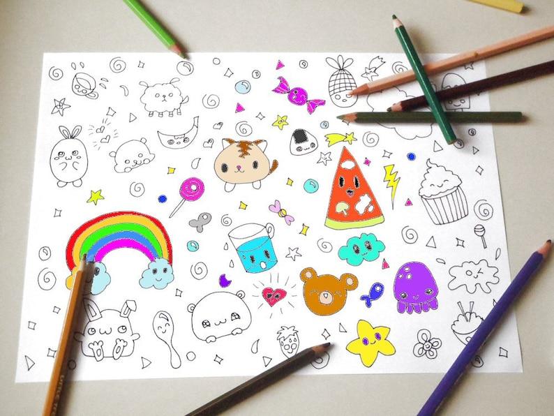 Kawaii Chibi Coloring Girl Kids Adult Instant Download Etsy