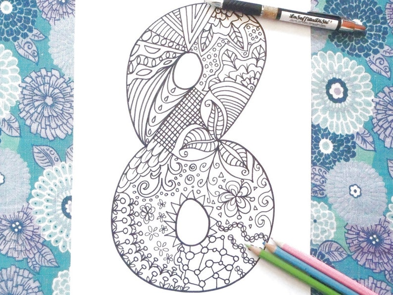 DOWNLOAD 8 number eight coloring printable book year 8 birthday anniversary kids coloring garland card doodle print digital lasoffittadiste