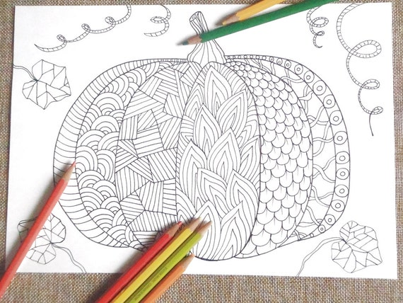 Zucca halloween pagina colorare doodle autunno colorare etsy - Pagina da colorare per halloween ...
