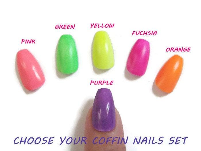 Neon Colors Coffin Ballerina False Nails Unas Glue On Summer Etsy