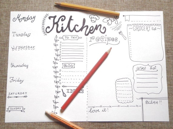 Cucina giornale settimana stampare planner juornaling for Planner cucina