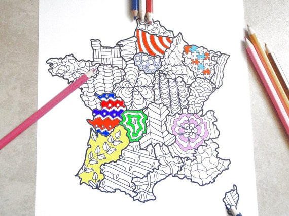 Francia Cartina Da Colorare Adulti Bambini Da Stampare Doodle Etsy